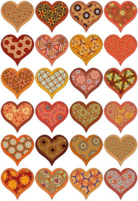 Little hearts on a digital collage sheet in shades of red and orange.