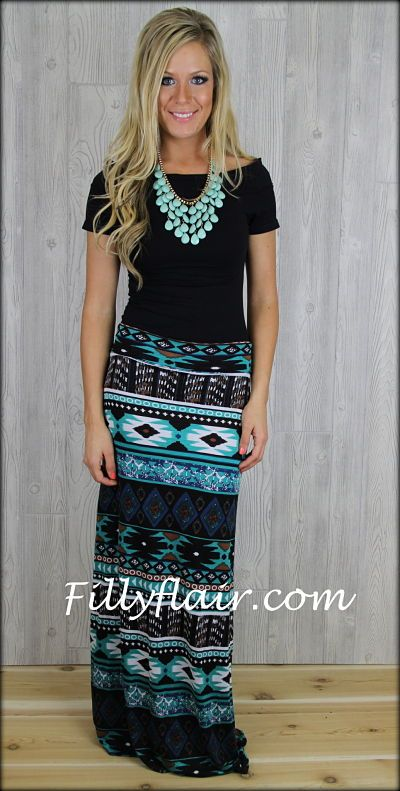 Turquoise Tribal Maxi Skirt: Filly Flair