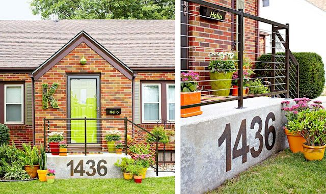 cool way to display your addressThe Doors, Green Doors, Concrete Numbers, Concrete Houses, Large House Numbers, Front Doors, Address Numbers, Curb Appeal, Front Porches Address