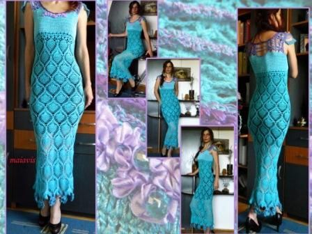 Long crocheted dress women fashion dress beauty