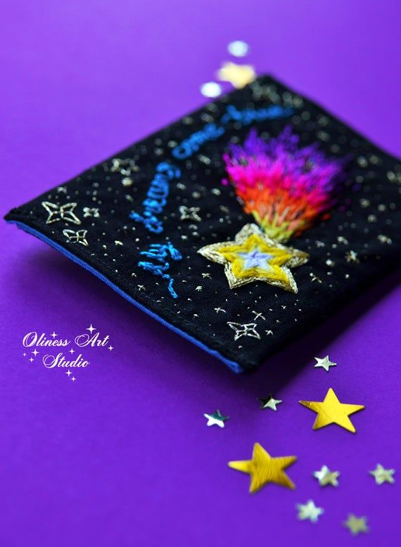Falling star credit card holder, shooting star credit card purse, life quotes business card holder, Dreams Come True, space embroidered bag