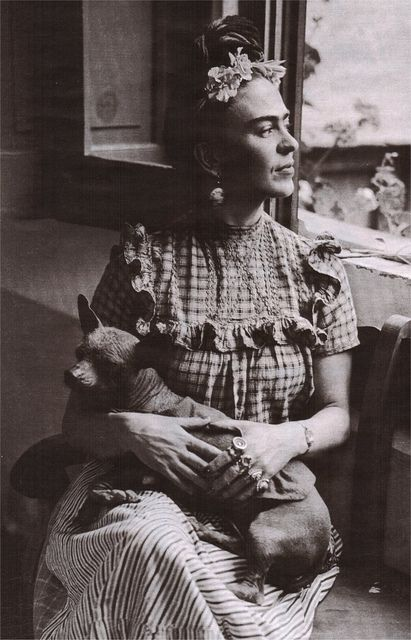 Frida Kahlo with dog Xoloitzcuintle by † Angel Lahoo †, via Flickr