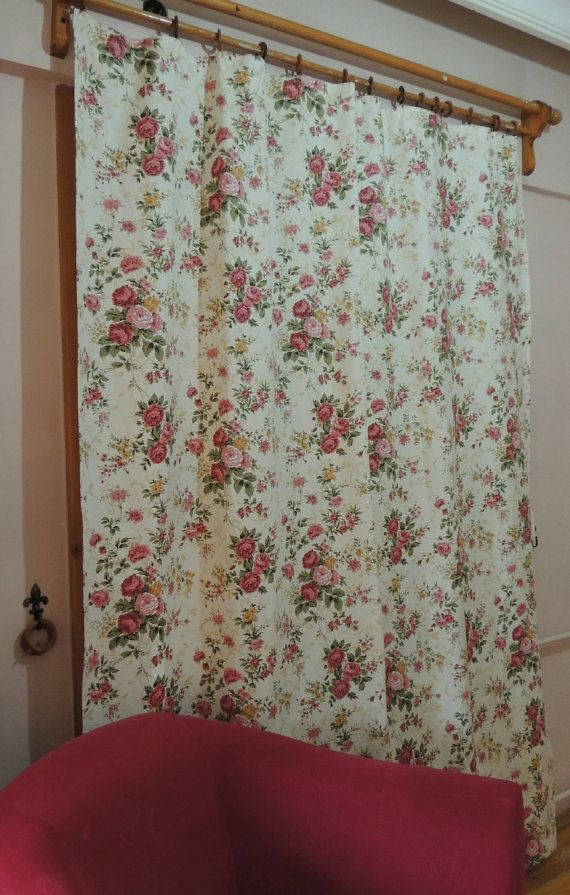 Shabby Chic Rose Curtain Floral Cottage Chic Curtains Window Curtains Drapes Home Decor Pair Of