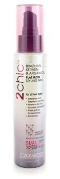 2chic Brazilian Keratin & Argan Oil Ultra-Sleek Flat Iron Styling Mist by Giovanni. Save 12 Off!. $7.94. Face the heat. Giovanni. 2chic Brazilian Keratin Argan Oil Ultra-Sleek Flat Iron Styling Mist by Giovanni 4.5 oz Liquid 2chic Brazilian Keratin Argan Oil Ultra-Sleek Flat Iron Styling Mist 4.5 oz Liquid For all hair types Defend hair from extreme flat iron Heat Moisturize for silky touchable manageability Create glide for flawless styling Banish frizz Extreme heat protection Warnings…