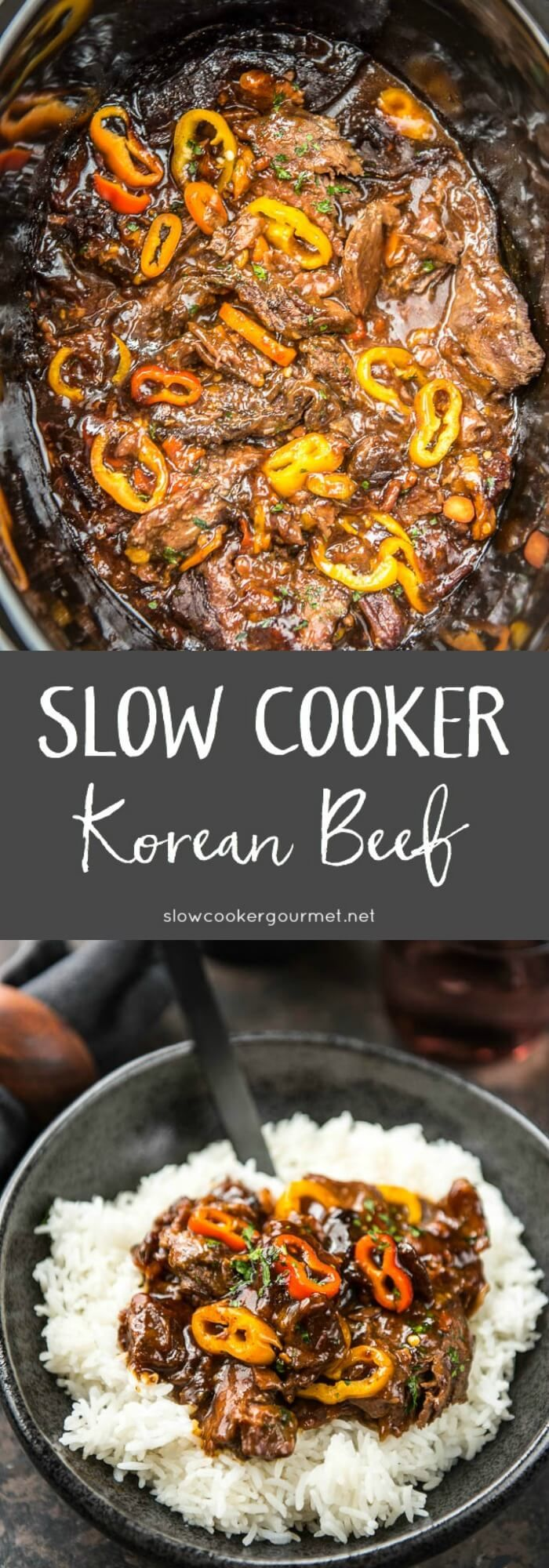 A quick and easy slow cooker meal perfect for family dinners! Tender beef and sweet peppers with a super tasty sauce!
