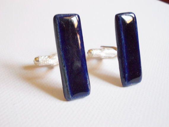 Blue ceramic cufflinks//Porcelain by CherishCeramics on Etsy