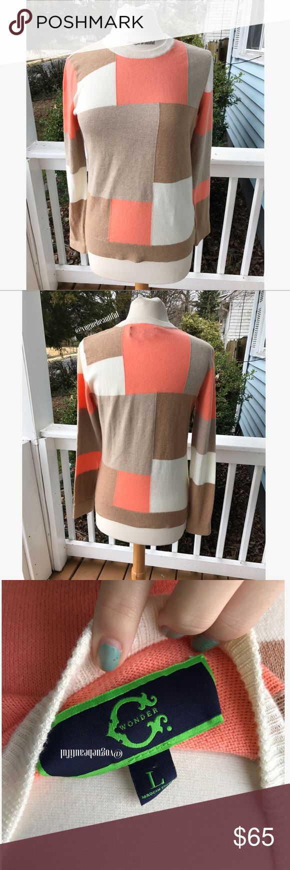C Wonder Colorblock Sweater Super cute C Wonder beige, white & orange colorblock sweater - colors may vary slightly from photos taken in daylight - size large - excellent condition with no stains - C Wonder is Tory Burch's Ex-Husbands brand - !!NO TRADES!! C Wonder Sweaters