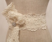 "Ivory Alencon Lace and Rhinestone Bow Bridal Sash  ""The Sarah"""