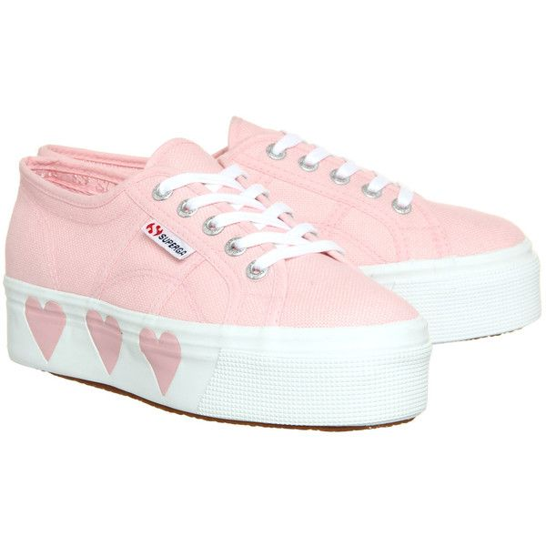 Superga 2790 (l) ($48) ❤ liked on Polyvore featuring shoes, sneakers, pink platform shoes, canvas sneakers, white tennis shoes, platform sneakers and platform canvas sneakers