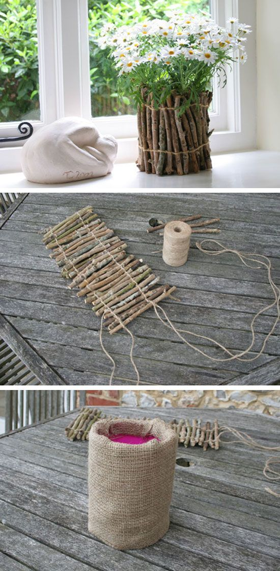 Rustic Flower Pots Made From Twigs / http://www.himisspuff.com/diy-wedding-centerpieces-on-a-budget/43/