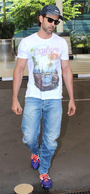 Hrithik Roshan at Mumbai airport. #Bollywood #Fashion #Style #Handsome #Hot