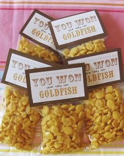 Prize for a fun fair party. Party food. Fish. Gold fish.