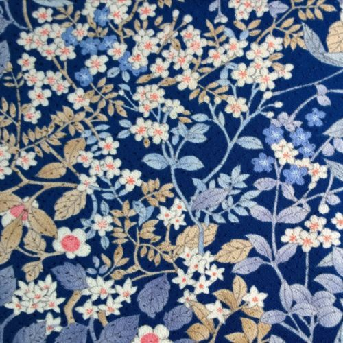 Vintage-kimono-silk-fabric-blue-floral-quilting