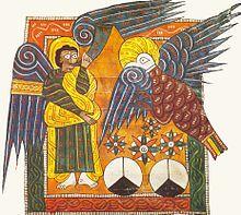 Четвертый ангел звучит в свою трубу, Апокалипсис 8. Beatus Эскориал , около 950.  Book of Revelation - Wikipedia, the free encyclopedia