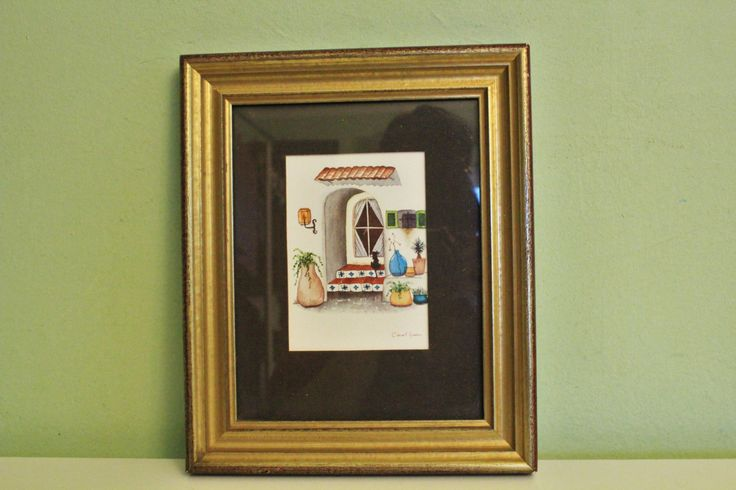 Vintage Framed Southwestern Art Print by Carol Jean Pencil Painting Lithograph by Grandchildattic on Etsy
