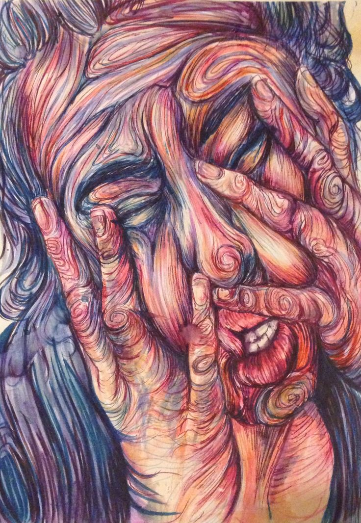 Unknown artist. This is a typical physical sign of a migraine.  Hands on the face protecting the head from further injury.