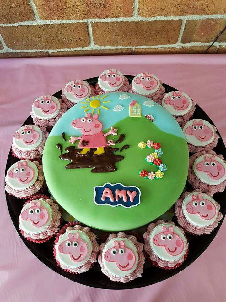 Peppa pig 'muddy puddle' birthday cake plus cupcakes