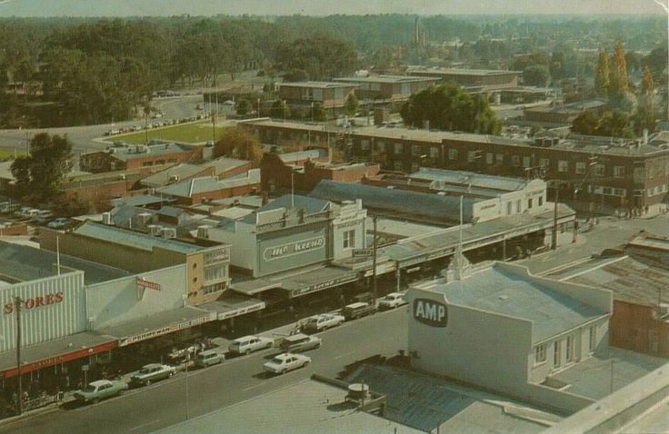 Shepparton view from Telstra Tower looking over Vic Hotel toward Eastbank Centre
