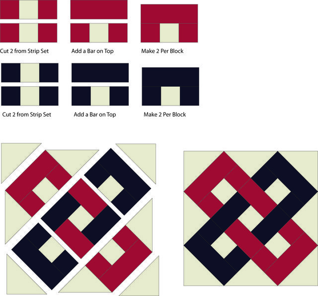 How to Create Interlocking Chains in a Quilt Block: Finish Sewing the Interlocking Chains Quilt Block
