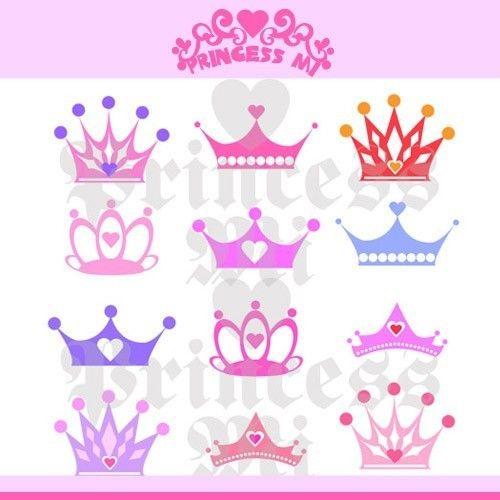 Digital illustration clipart Download Princess Crown set graphic design by princess mi 1105. $10.00, via Etsy.