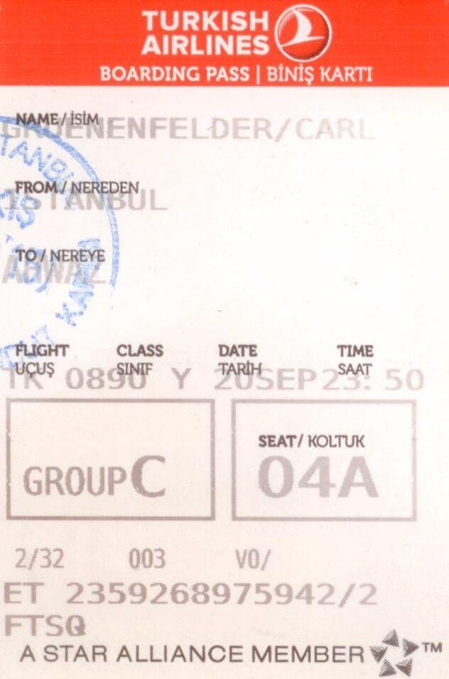 20150920 235000 Istanbul Turkey To Ahwaz Iran On Turkishairlines Boardingpass Turkish Airlines Boarding Pass Alliance