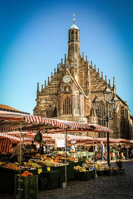 The Hauptmarket in Nürnberg, Bavaria, Germany.