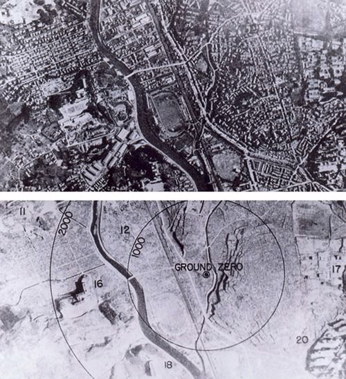 "August 1945 - Before and after photographs of Nagasaki, Japan. The United States called for a surrender of Japan in the Potsdam Declaration on July 26, 1945, threatening Japan with ""prompt and utter destruction."" The Japanese government ignored this ultimatum, and the United States deployed two nuclear weapons developed by the Manhattan Project."