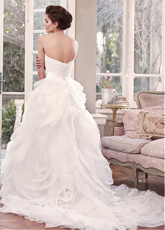 Stunning Satin & Organza Satin One Shoulder Neckline Natural Waistline Ball Gown Wedding Dress