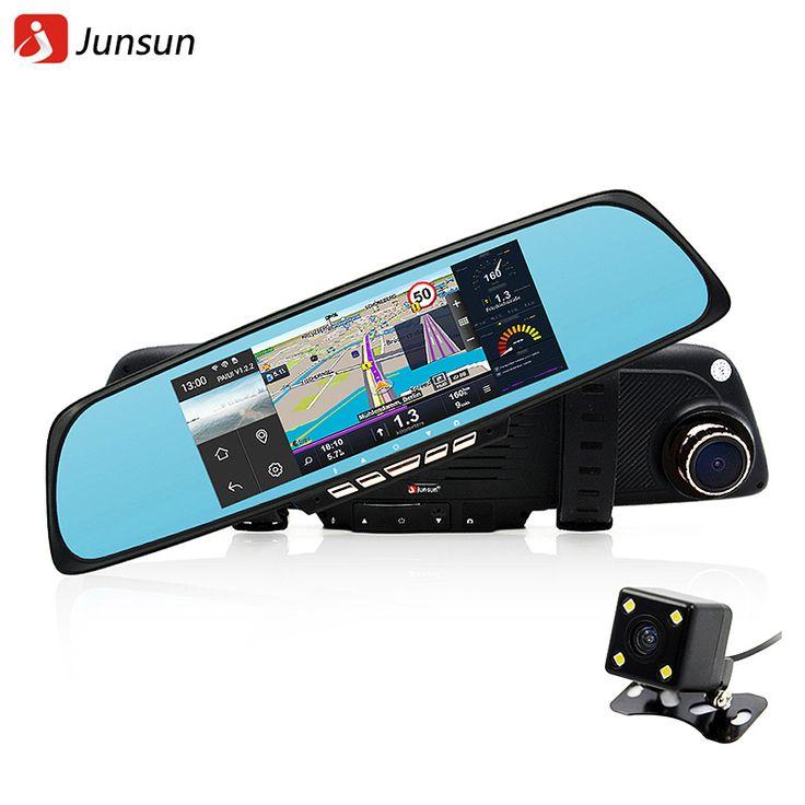 """Junsun 6.86"""" Car Camera DVR GPS Navigation Dual Lens Rearview Mirror Video Recorder FHD 1080P Automobile DVR Mirror Dash cam *** Visit the image link more details."""