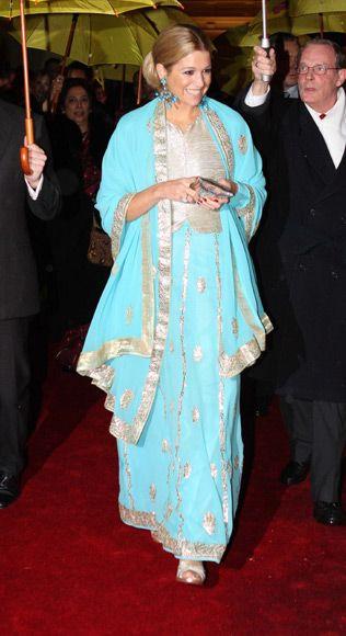 Lichtblauw met zilver, jurk prinses Maxima