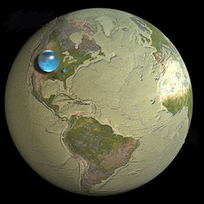 If all the water on Earth was put together it would be this big in comparison .  the little blip next to it is the fresh water we have on this amazing planet.  Pretty sobering if you ask me