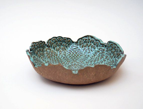 Aqua Brown Lace Bowl, Ceramic, Pottery, Handmade, Decorative, Jewelry Dish - EXAMPLE OF TWO TONE PAINT TECHNIQUE