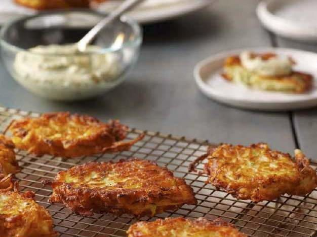 Summer Squash Fritters with Garlic Dipping Sauce | Cookstr.com
