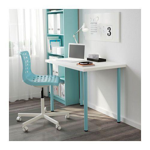 LINNMON / ADILS Table, white, light turquoise white/light turquoise 39 3/8x23 5/8