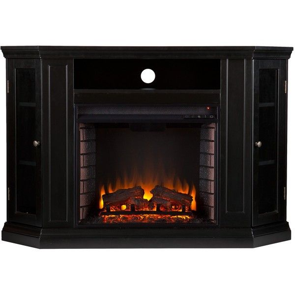Upton Home Claremont Black Media Console Fireplace ($499) ❤ liked on Polyvore featuring home, furniture, storage & shelves, entertainment units, black, mantel shelf, fireplace media stand, display shelves, fireplace mantel shelf and black media consoles