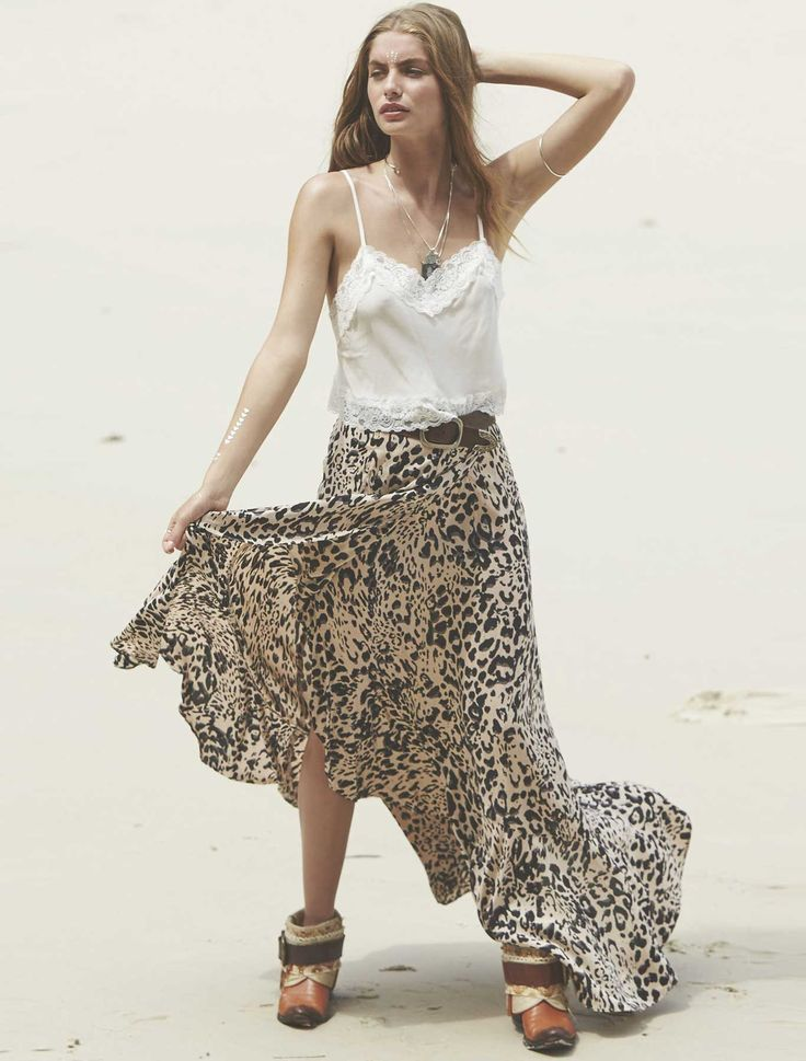 this gorgeous soft rayon maxi skirt was features a ruffled hem and the exclusive jungle print for all you leopard lovers out there.