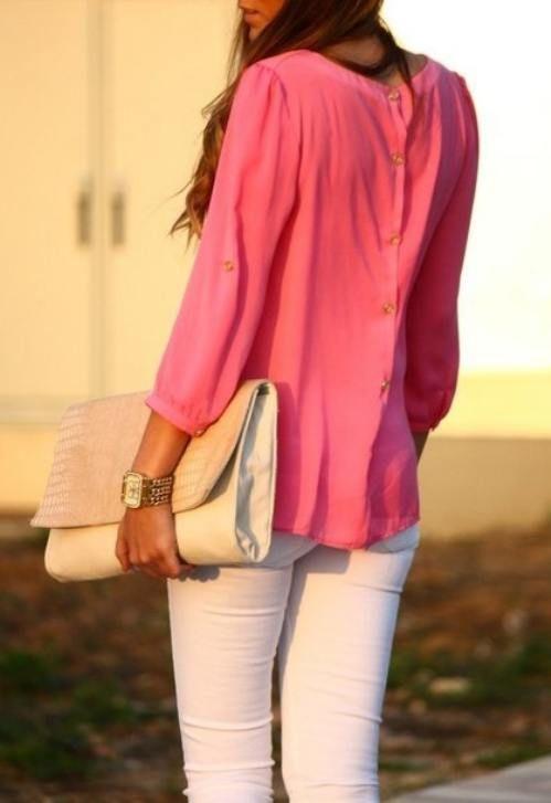 pink top, white pants