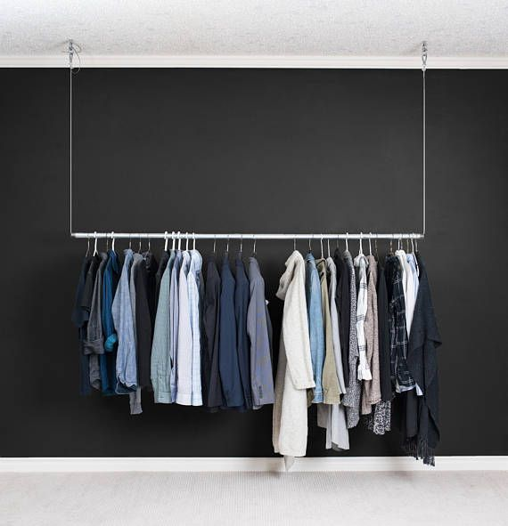 Modern Industrial Floating Clothes Rack | Large Hanging Clothing Rack Contemporary Minimalist #ad etsy.com