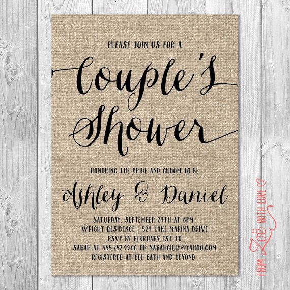 Rustic Couples Shower Invitation, Burlap, Printable, Shabby Chic, Boho Neutral