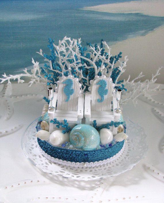 Adirondack Chairs Beach Wedding Cake Topper  by CeShoreTreasures