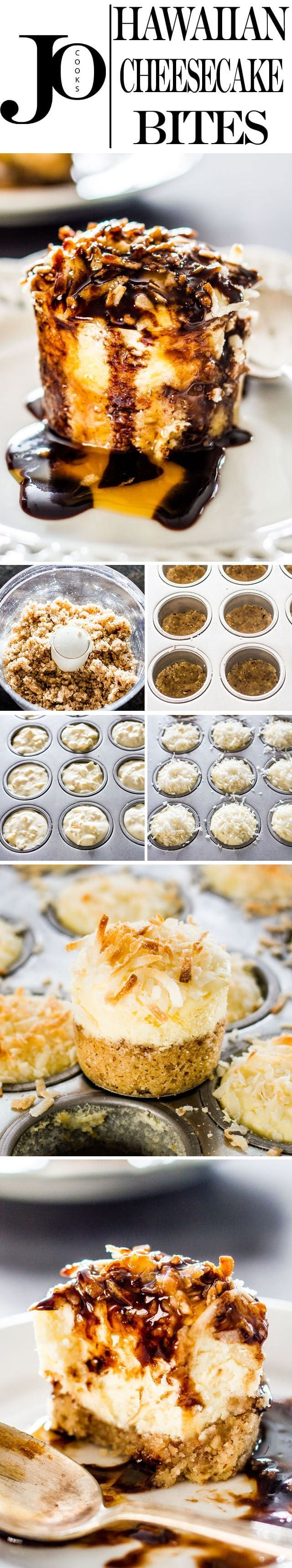 Hawaiian Cheesecake Bites - decadent mini cheesecakes with pineapple on a pecan crust and topped with sweetened coconut flakes. Fabulicious! via @jocooks