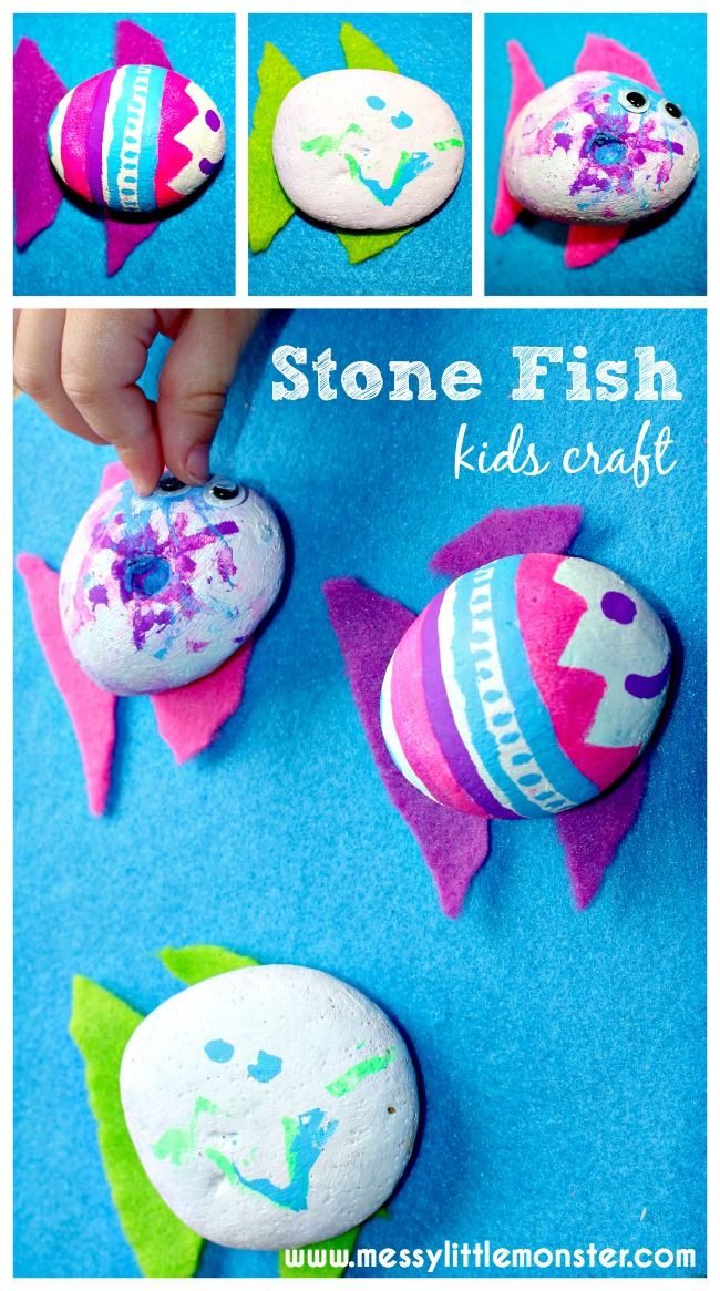 Stone fish craft for kids.  Use painted stones and chalk pens to make to make pet fish.  A simple summer or fish themed craft for toddlers and preschoolers.