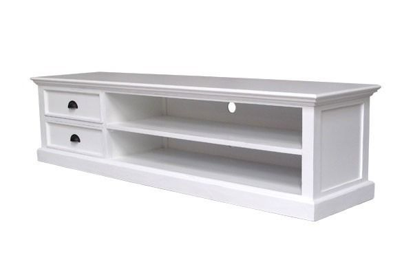 Whitehaven Painted Large TV Unit - The epitome of quality craftsmanship and chic, striking looks, Whitehaven Painted furniture is hand-crafted using solid plantation Mahogany wood and man-made timbers, with a clean and contemporary, white painted finish.