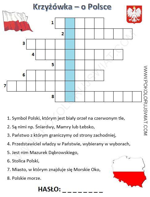[:pl]Krzyżówka o Polsce dla dzieci do wydruku, Pokoloruj Świat, kolorowanki, wykreślanki, gry online, strona dla dzeci[:]