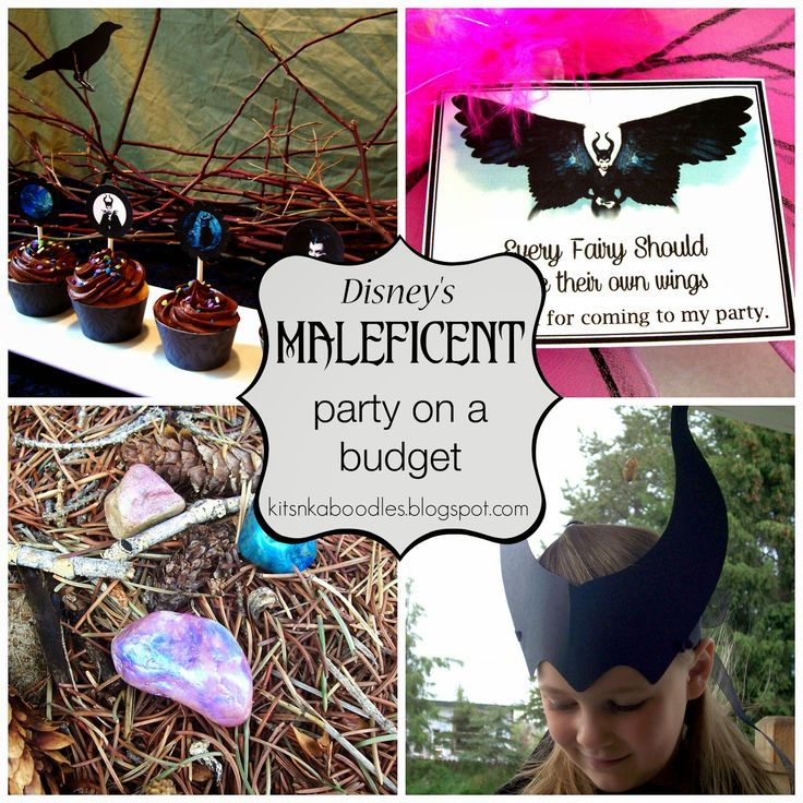 Disney's MALEFICENT birthday party ideas from Kits n Kaboodles. Lots of links, FREE PRINTABLES, activities, games, extras.