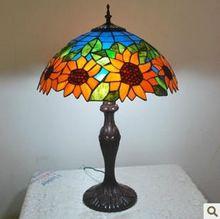 Европейский витражное стекло тиффани / деревенский стиль sunflower стол лампа разовых сделок(China (Mainland))