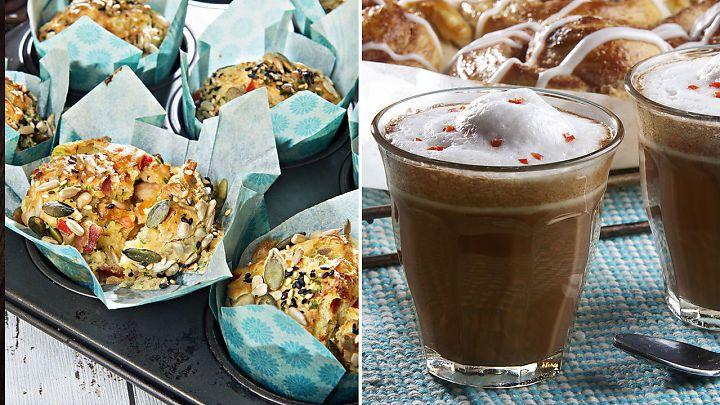 Tomatsuppe på termos, lunsjmuffins, kakao med chili og digge peanøtt- og sjokoladebiter.