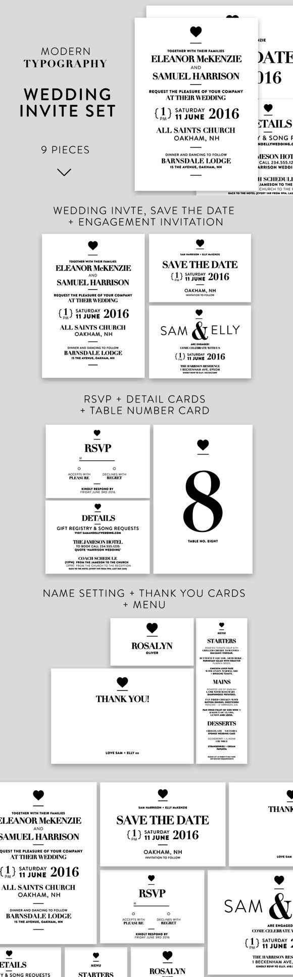 Modern Typography Wedding Invite Set by Wednesday Designs on @creativemarket