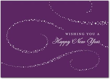 Purple Happy New Year 2015 | Magical Swirls Happy New Year Card