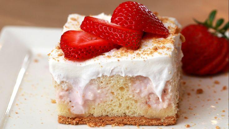 nice Strawberry Cheesecake Poke Cake